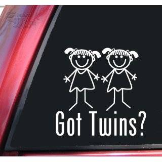 Got Twins? Boy/Girl White Vinyl Decal Sticker Automotive