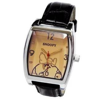 Peanuts Snoopy Wrist Watch   Square Shape Snoopy Watch w/ Leather Band