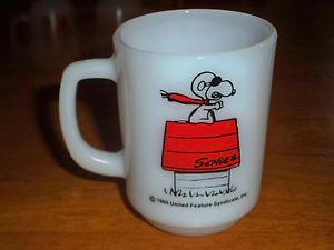 1960's Fire King Anchor Hocking Snoopy Curse You Red Baron Milk Glass Mug Cup