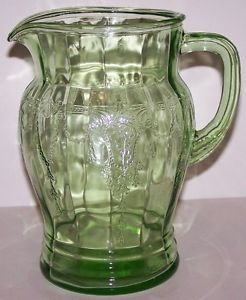 "Wonderful Anchor Hocking Green Depression Glass Cameo Ballerina 8"" Water Pitcher"