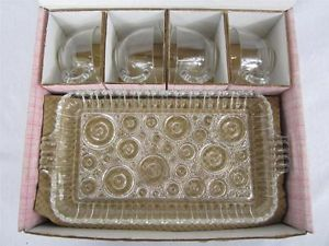 Vintage Anchor Hocking Anchorglass Serva Snack Set Glass Lunch Plates Cups
