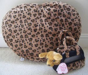 Sale Leopard Print Faux Fur Small Pet Cat Dog Bedding Heart Shaped 2 Sides New