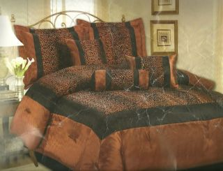 5pcs Bed in A Bag Comforter Set Copper with Brown Leopard Print Twin Size