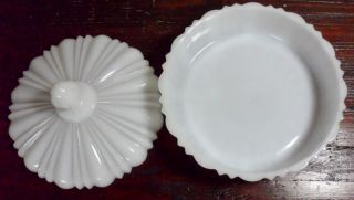 Vintage Anchor Hocking Fire King White Milk Glass Ribbed Lidded Candy Dish Bowl