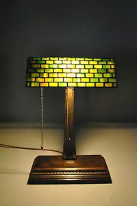 Antique Handel Desk Table Lamp with Green Leaded Glass Shade and Bronze Base