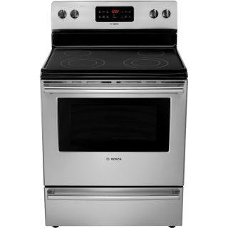 New Bosch Stainless Steel 300 Series Electric Freestanding Range HES3053U 825225880837