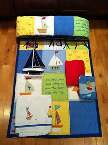 6 PC Pottery Barn Kids Baby Boat Crib Bedding Sailboats Quilt Bumper Skirt