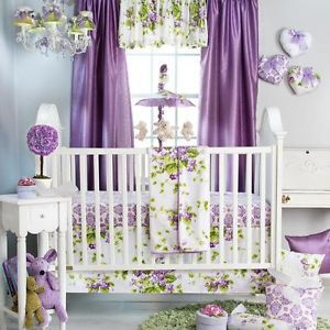 Cute Purple Floral Flowers Themed Infant Baby Girls 3P Nursery Crib Bedding Set