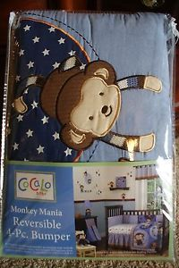 New Cocalo Baby Monkey Mania Reversible 4 PC Bumper New Baby Boy Crib Bedding