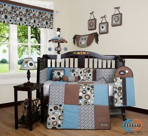 Brown Blue Scribble 13P Baby Crib Bedding Set