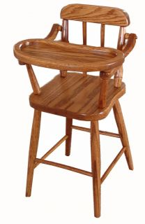 Amish Baby Doll Highchair Solid Oak Wood Wooden Toy Furniture New