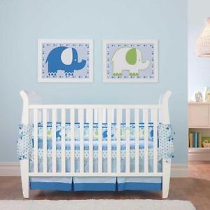 3pc Blue Green Shining Star Circus Elephant Baby Boy Nursery Crib Bedding Set