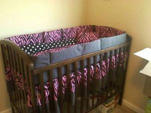 Custom Zebra Animal Print Baby Girl Crib Bedding