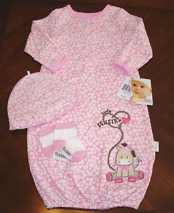 """Cowgirl"" 3 Piece Pink Gown Set Baby Girl Clothes 0 6 Months by Vitamins Baby"
