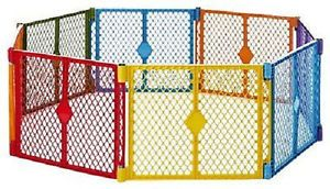 Safety Superyard Baby Gate Kids Portable Play Yard Pet Panel Color Pen