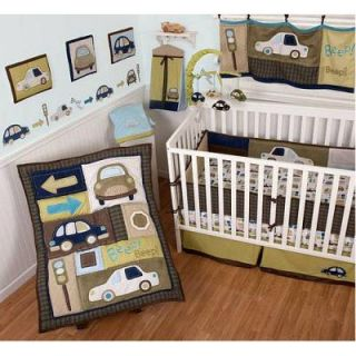 Sumersault Classic Cars 7pc Baby Boy Crib Bedding Set Corduroy Blue Brown Green