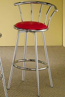 Pair of Chrome Swivel Bar Stools with Red Cushion
