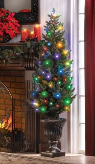 Indoor Outdoor LED Festive Light Christmas Tree and Base Battery Operated