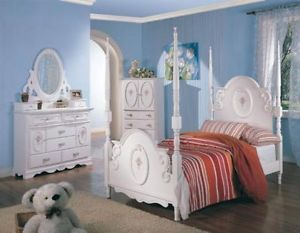 Dreamy 4 Poster Girls White Twin Bed Bedroom Furniture