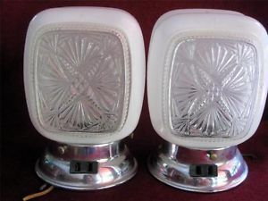 Pair 1950's Art Deco Glass Lamp Light Fixture Wall Mount Sconce Bathroom Vanity