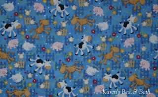 Old McDonald Farm Country Farm Animals Horse Cow Pig Sheep Blue Chicken Valance