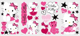 38 New Hello Kitty Couture Wall Decals Girls Bedroom Stickers Pink Room Decor