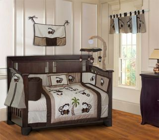 10 Piece Monkey Boys Baby Crib Bedding Set Includes Mobile