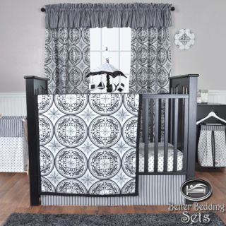 Trend Lab Baby Boy Girl Black White Grey Damask Crib Nursery Bedding Quilt Set