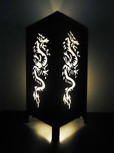 Asian Oriental White War Chinese Dragon Bedside Table Lamp Lighting Decor