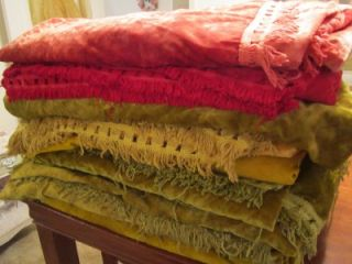 Huge Lot 8 Vtg Velvet Bedspreads Fringed Fabric Full Burnt Orange Red Green Gold