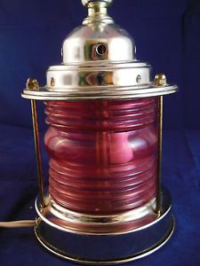Nautical Metal SHIP Red Port Lantern Bedside Desk Table Lamp VG EX