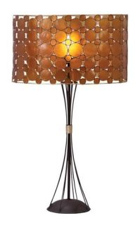 Contemporary Amber Capiz Shade Metal Table Lamp Modern Bedside Light Accent