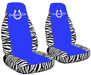 Cool Set Zebra White Blue Car Seat Covers w Cowgirl Up