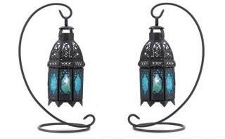 Set of 2 Blue Glass and Black Metal Moroccan Candle Lanterns on Stands