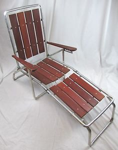 Vintage Redwood Wood Aluminum Folding Chaise Lounge Lawn Patio Chair Retro