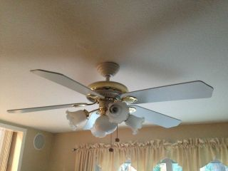 "Hampton Bay 52"" White with Gold Trim Ceiling Fan with Lights"