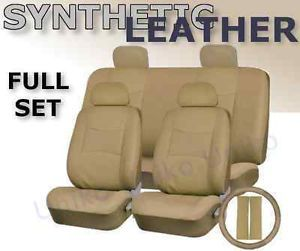 Car Seat Covers Beige Tan PU Synth Leather 4 Headrests Steering Wheel Set CS2