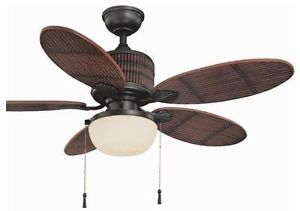 "Hampton Bay Tahiti Breeze Indoor Outdoor 52"" Tropical Ceiling Fan w Light Kit"