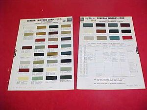 1965 Chevrolet GM Pontiac Oldsmobile Buick Color Chart Paint Chips Brochure 65