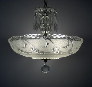 Large Vintage Art Deco Glass Shade Chandelier Antique Ceiling Light Fixture