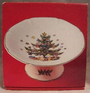 Nikko Japan Compote Dish 6 inch Christmastime Happy Holiday Christmas Tree