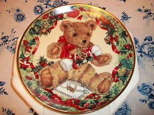 Franklin Mint Teddy Bear Christmas Plate Bengry