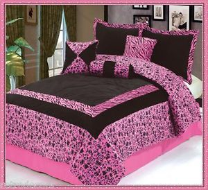 7pc New Luxury Faux Fur Safarina Pink Zebra Animal Queen Comforters Sets