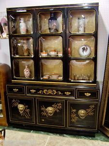 Splendid Antique Art Deco Chinoiserie Secretary Curio Cabinet Breakfront