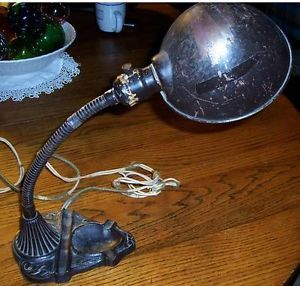 Vintage Cast Iron Gooseneck Desk Lamp Ash Tray Art Deco Industrial Antique