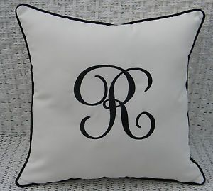 Monogram Initial Indoor Outdoor White Black Cording Decorative Throw Pillow