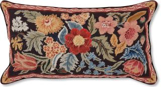 Venetian Flowers Decorative Floral Needlepoint Pillow