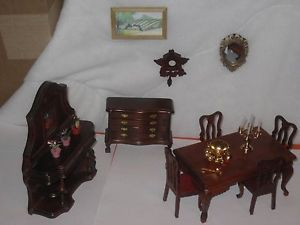 Red Wood Doll House Furniture Dining Room Table 4 Chairs Clock Painting Hutch