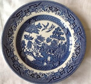 Churchill China Dinnerware England Blue Willow Set 8 Side Plates