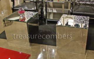 2 Modern Mirrored Cube Coffe Table End Tables Hollywood